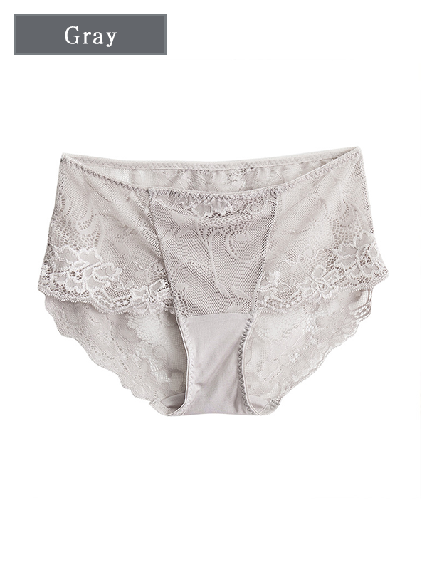 Elegant Mid-waisted Silk Panty With Lace Trim 5 Pack、Real Silk Life