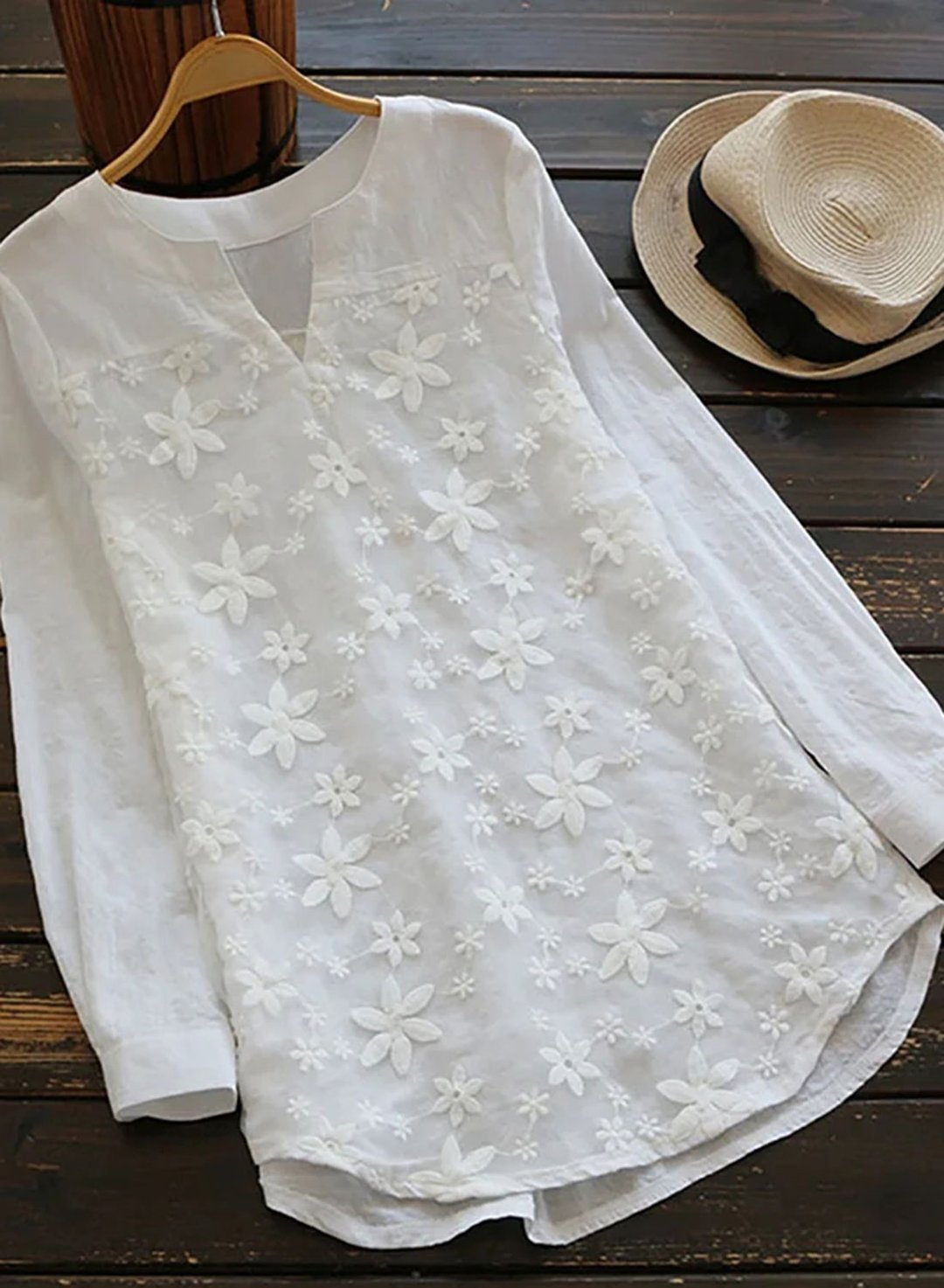 White Women's Shirts Solid Floral Long Sleeve V Neck Daily Casual Lace Shirt LC255880-1