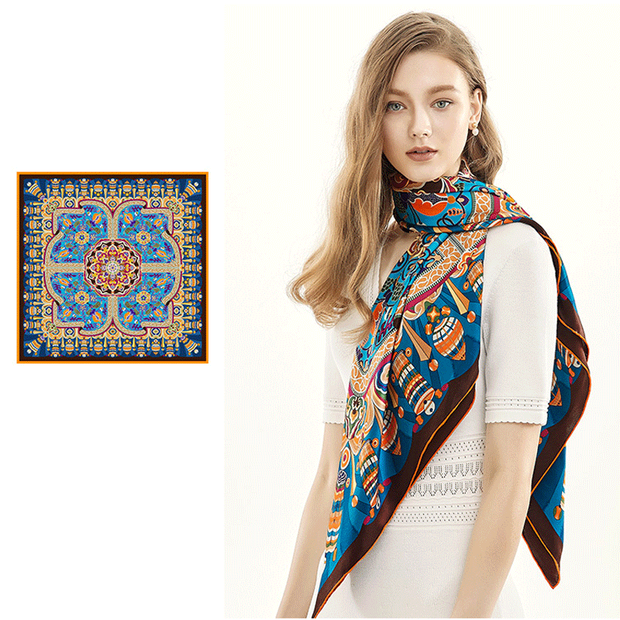 Blue Printed Silk Scarf 1021190041 106*106、REAL SILK LIFE
