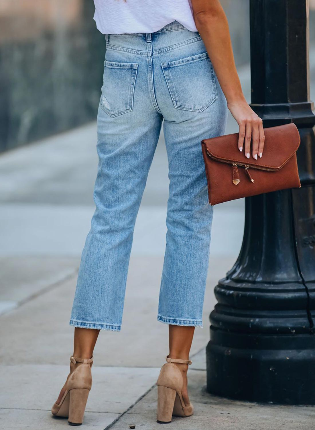 Light Colored Ankle Fashion Jeans