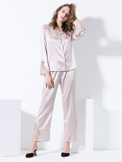 22 Momme High Quality Beige Lace Silk Pajamas Set、Real Silk Life
