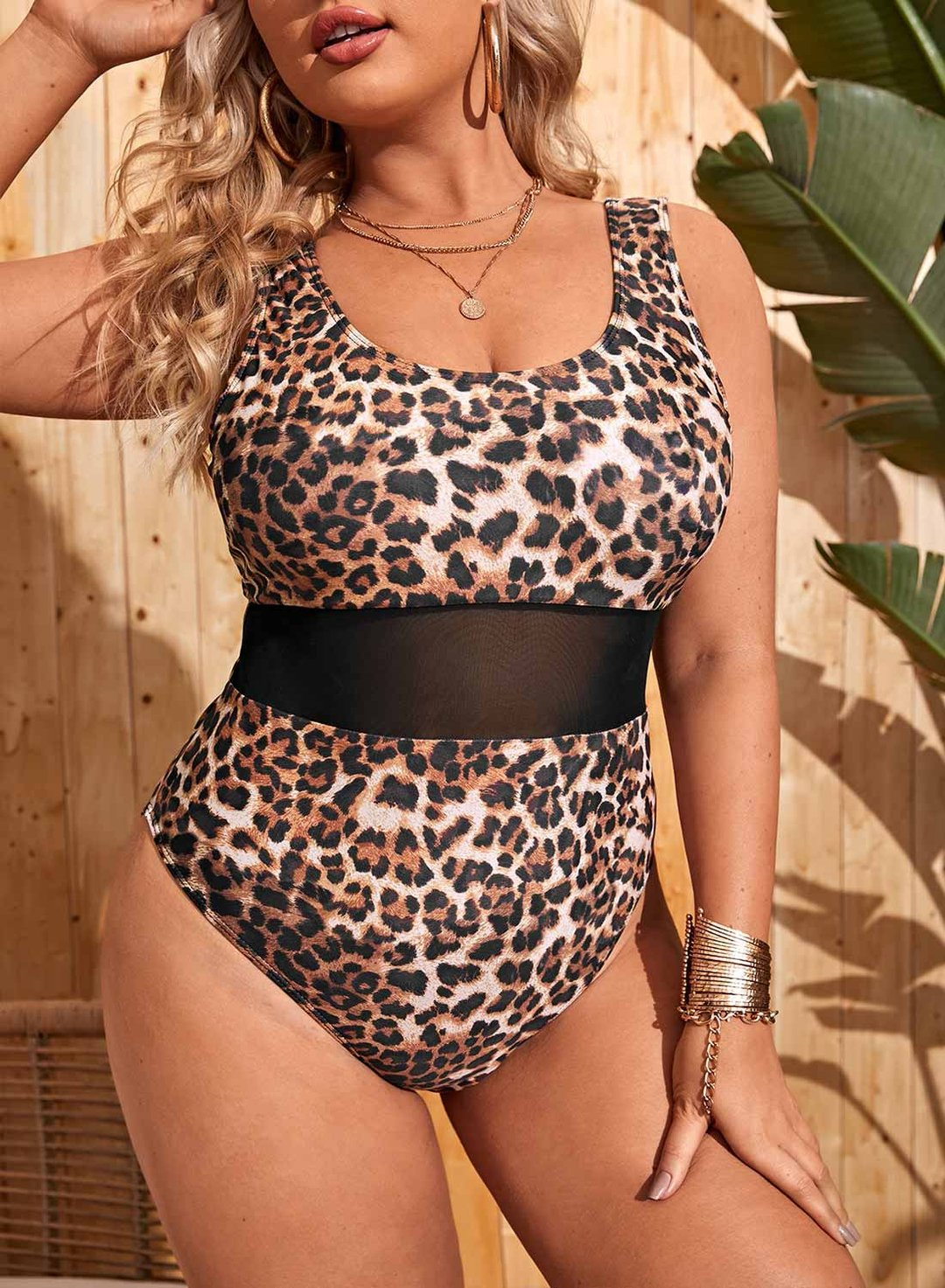 Leopard Women's Swimsuits Leopard Mesh Plus Size One-piece Swimsuits LC441169-20