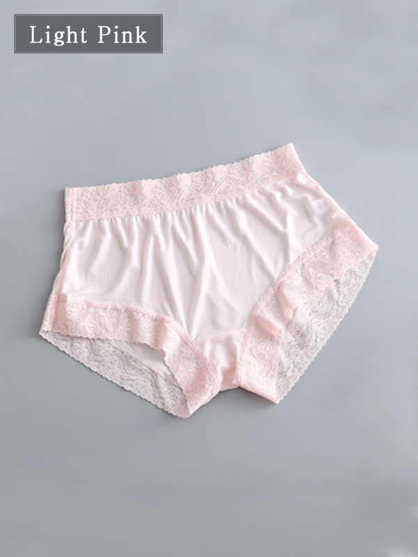 Mid-waist Silk Panty With Lace Trim 6 Pack、Real Silk Life