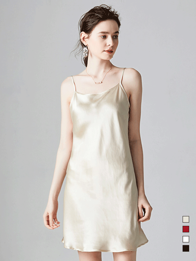 Elegant Adjustable Straps Silk Nightgown、Real Silk Life