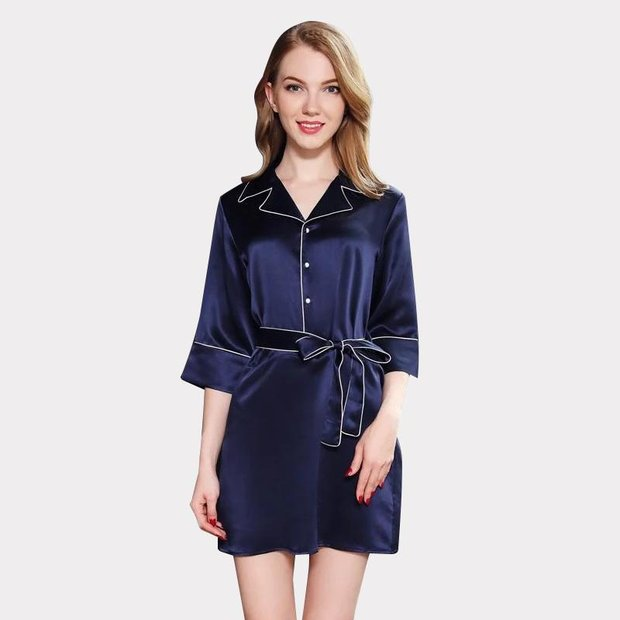 19 Momme Women's High Quality Silk Sleep Shirt、Real Silk Life