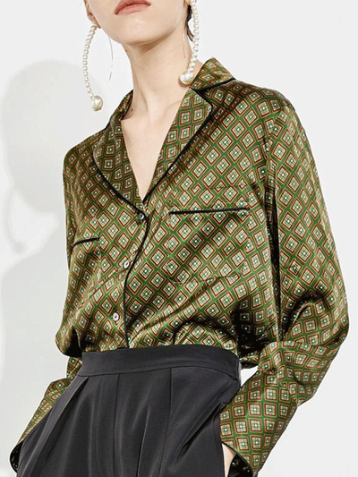 Women  Avocado-Green Classic in French Style Silk Blouse、Real Silk Life