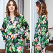 19 Momme Green Palm Printed Silk Pajamas、Real Silk Life
