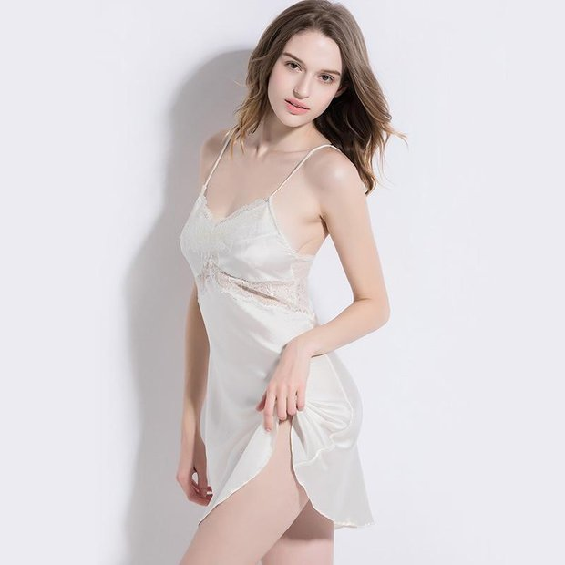 19 Momme Lace Short Silk Nightgown | Two Colors Selected、Real Silk Life