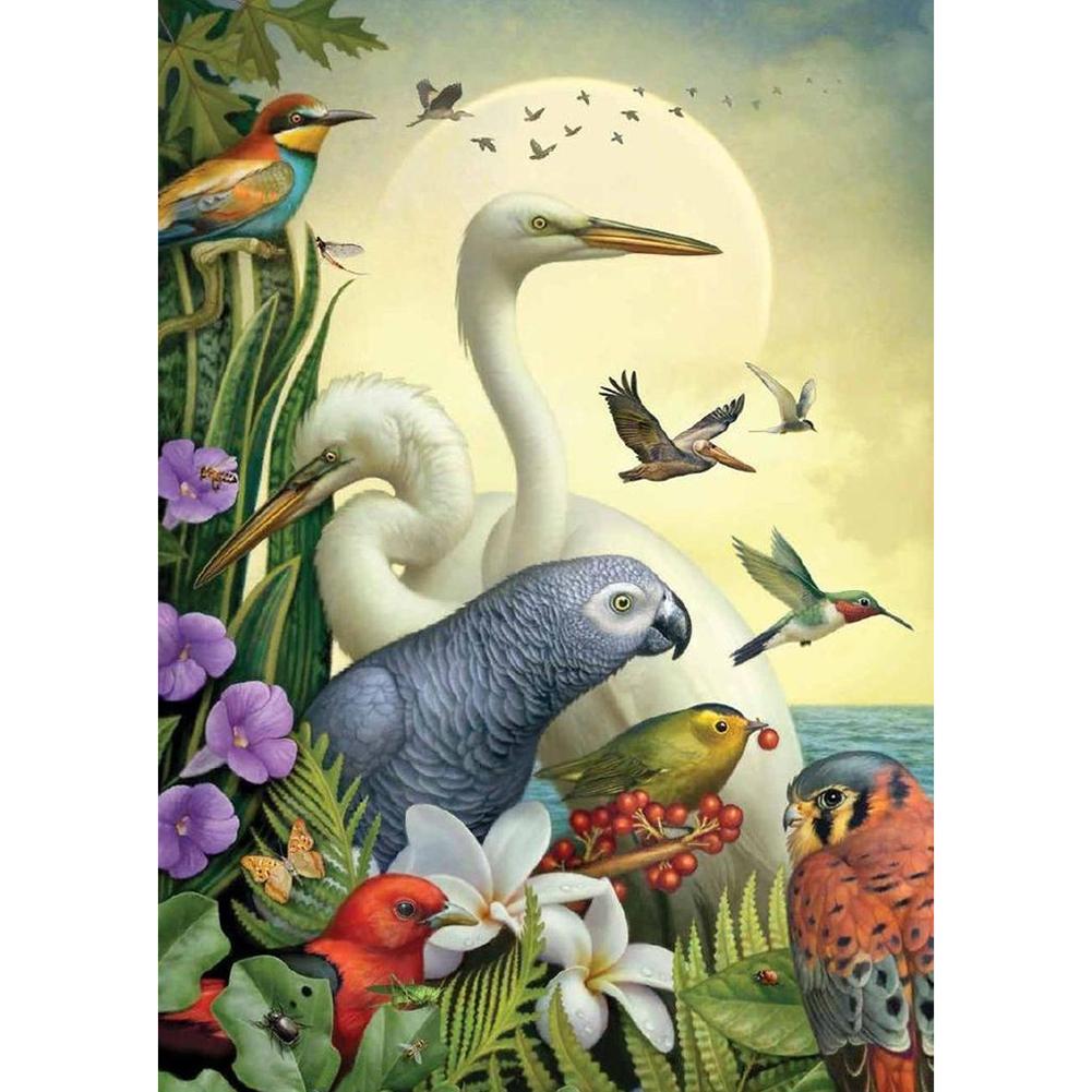 40*50CM - Round Drill Diamond Painting - Moon Birds, 501 Original