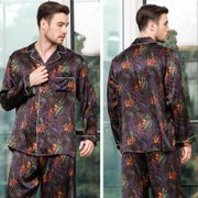 22 Momme High Quality Printed Silk Pajamas Set for Men、Real Silk Life