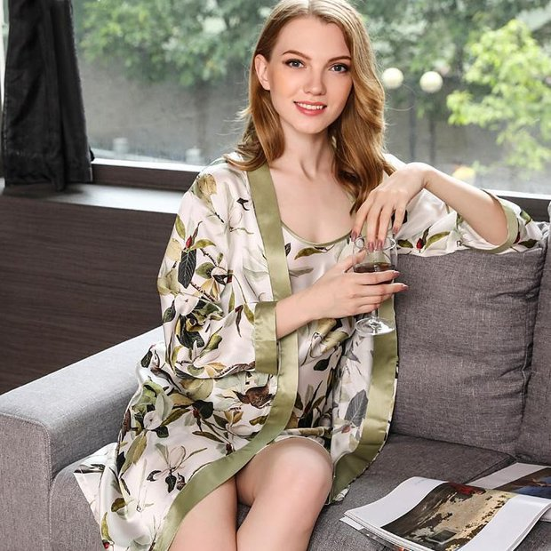 22 Momme High Quality Women's Printed Silk Robe Set-Two Pieces、Real Silk Life