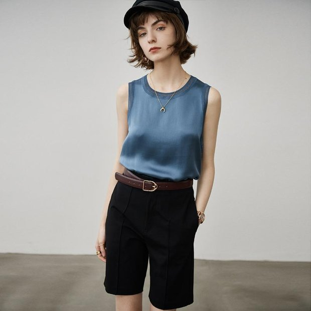 Solid Color Basic Style Silk Tee、Real Silk Life