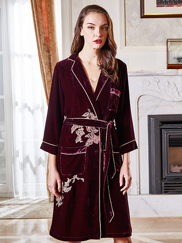 Luxurious Mid Length Silk Velvet Robe With Pocket For Women、Real Silk Life