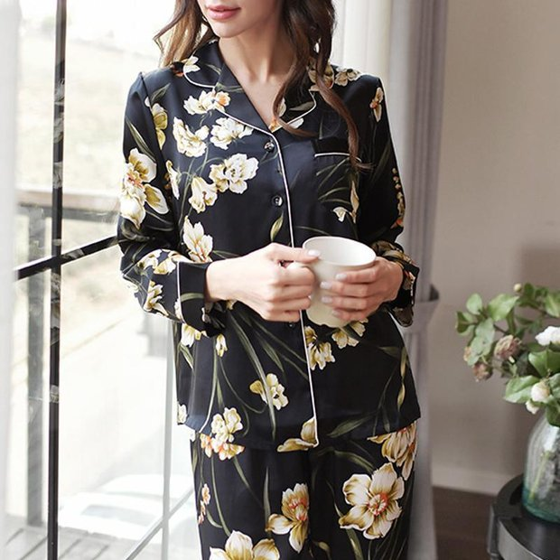 22 Momme Women's  Printed Real Silk Pajamas Set Black、Real Silk Life