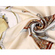 Yellow Printed Silk Scarf 1021180071 90*90、REAL SILK LIFE