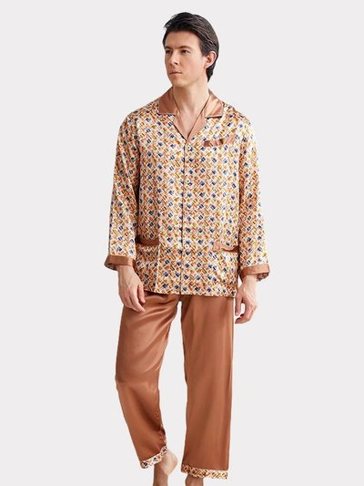 19 Momme Chic Printed Silk Pajams For Men、Real Silk Life