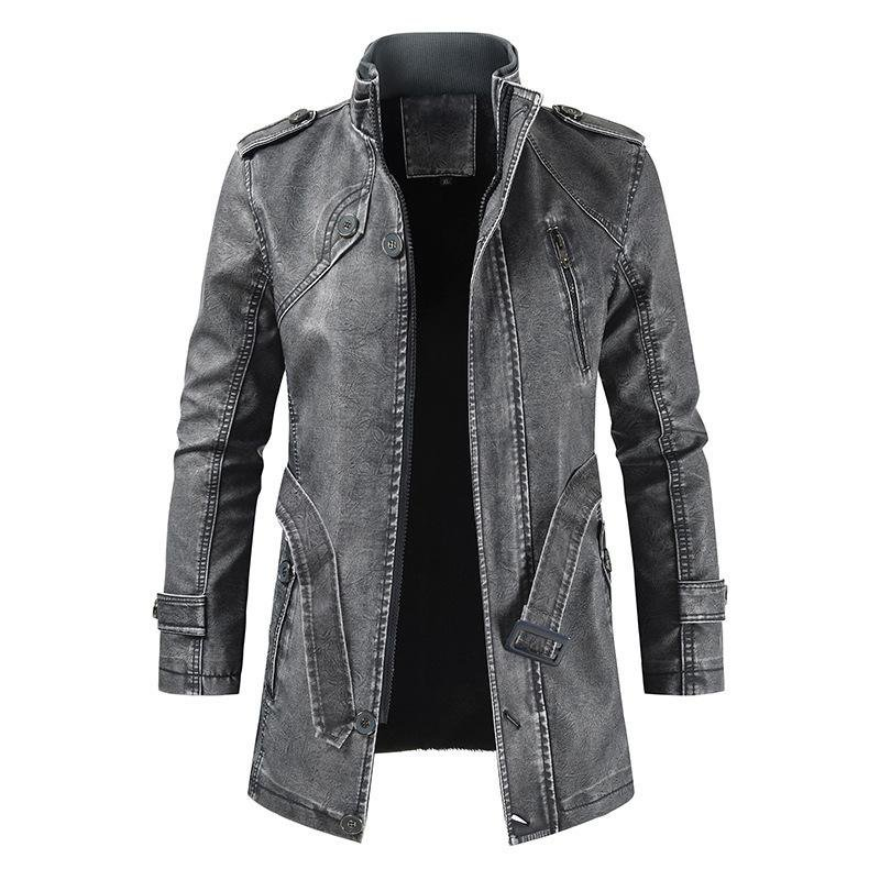 Mens outdoor long leather cold-resistant jacket / [viawink] /