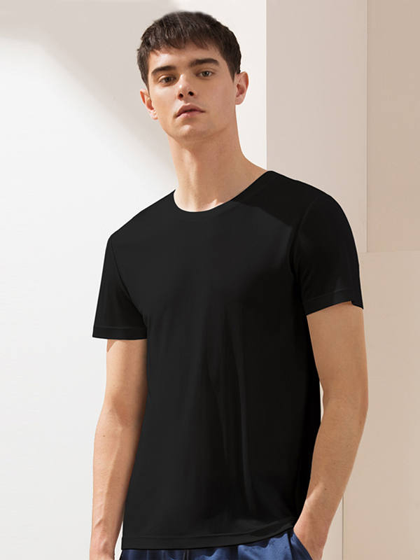 Monogrammed 19 Momme Round-neck Plain Color Silk Tee For Men (Multi-Color Selected)、Real Silk Life