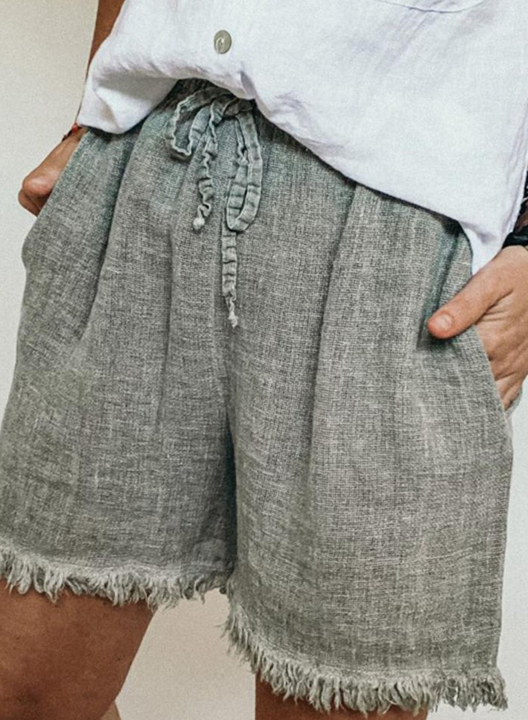 Gray Women's Shorts Tassle Drawstring Shorts LC73217-11