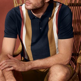 Men's casual striped short sleeve polo shirt / [viawink] /