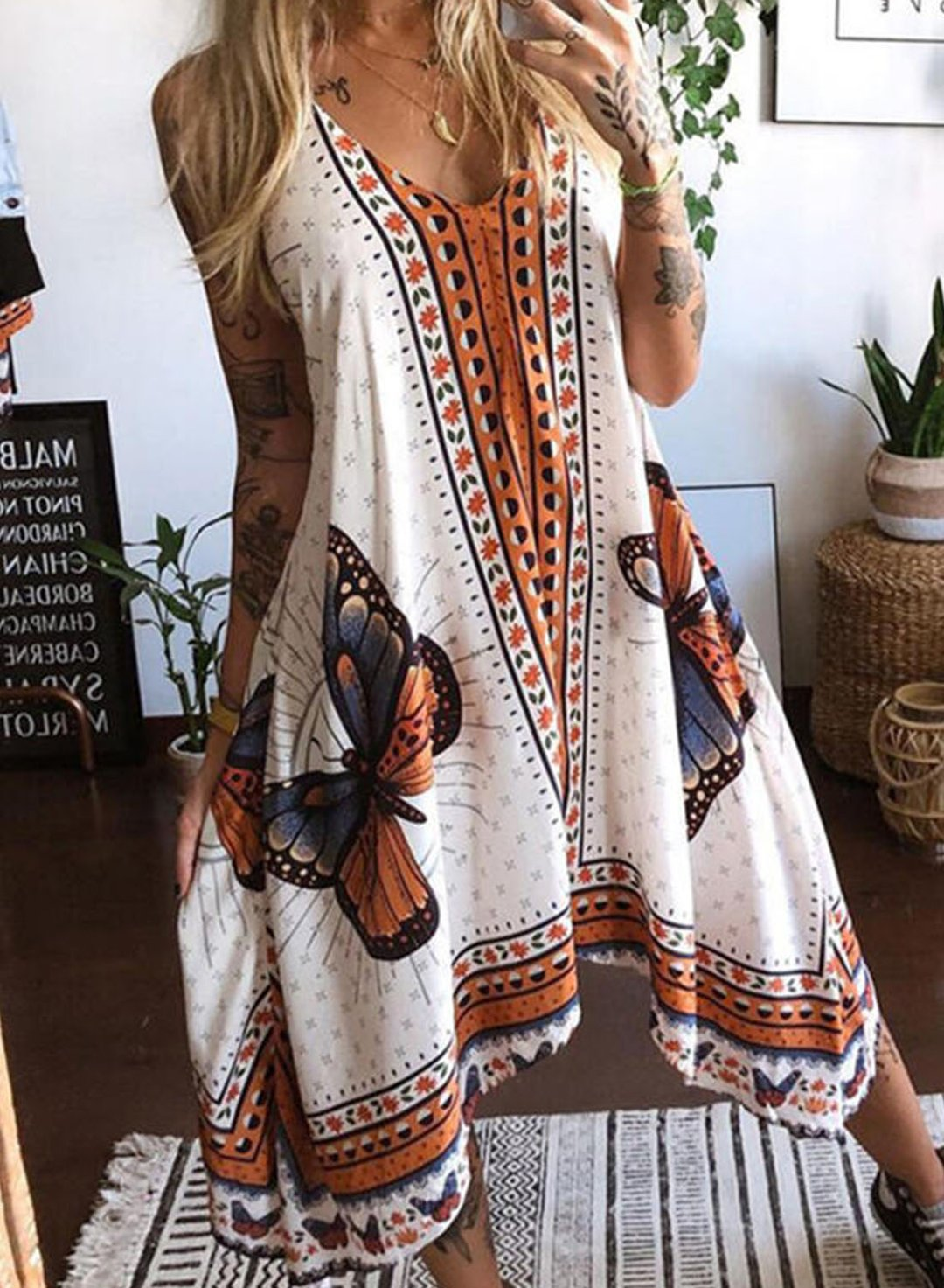 Multicolor Women's Dress Tribal Cami Midi Dress LC225954-22