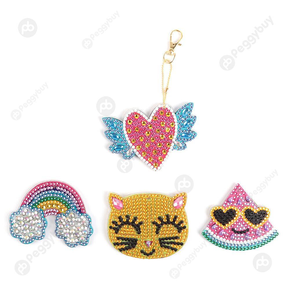 Peggybuy coupon: 4pcs Rainbow Cat-DIY Creative Diamond Keychain