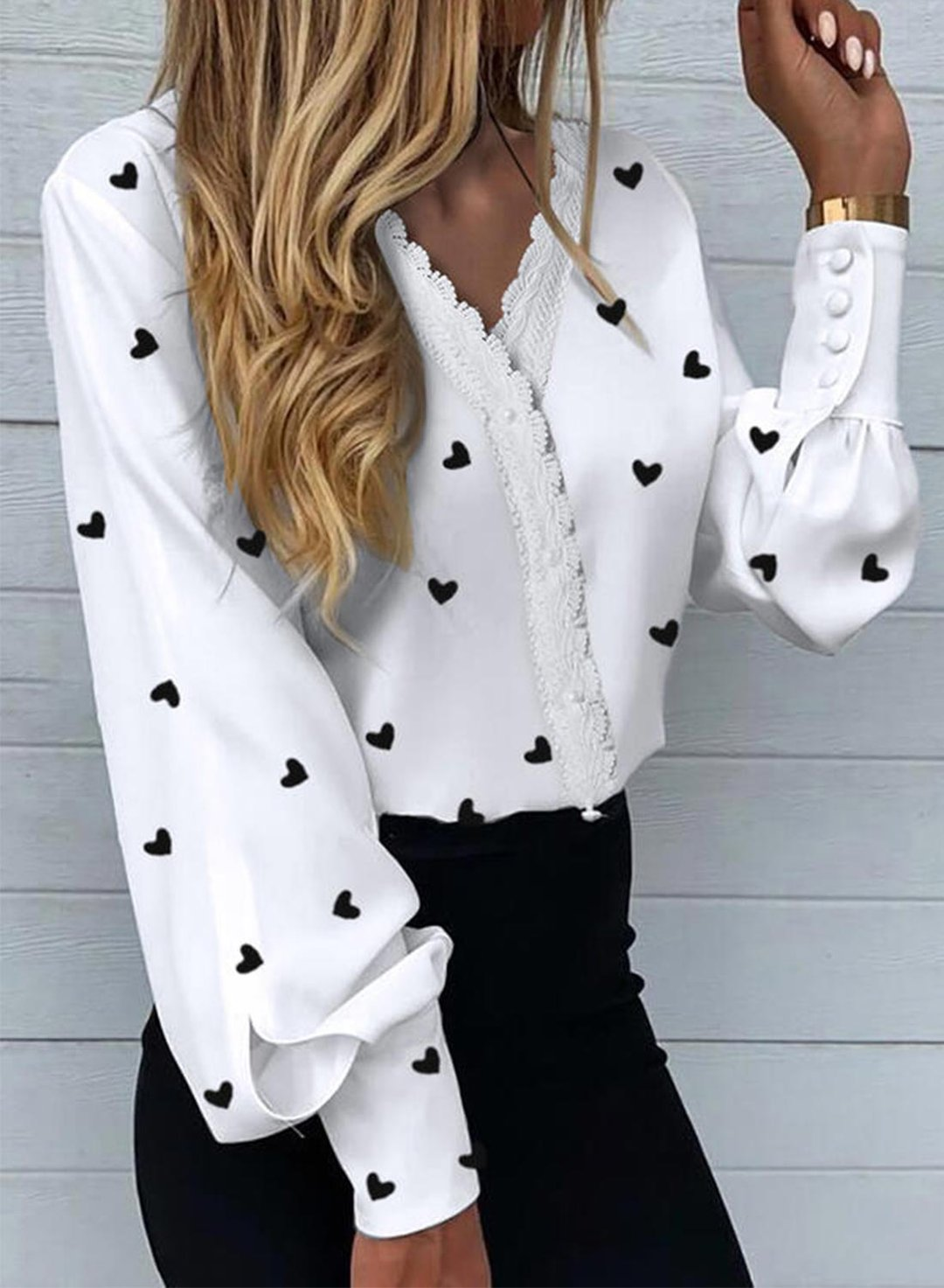White Women's Shirts Lace Heart-shaped Long Sleeve V Neck Daily Casual Shirt LC255957-1