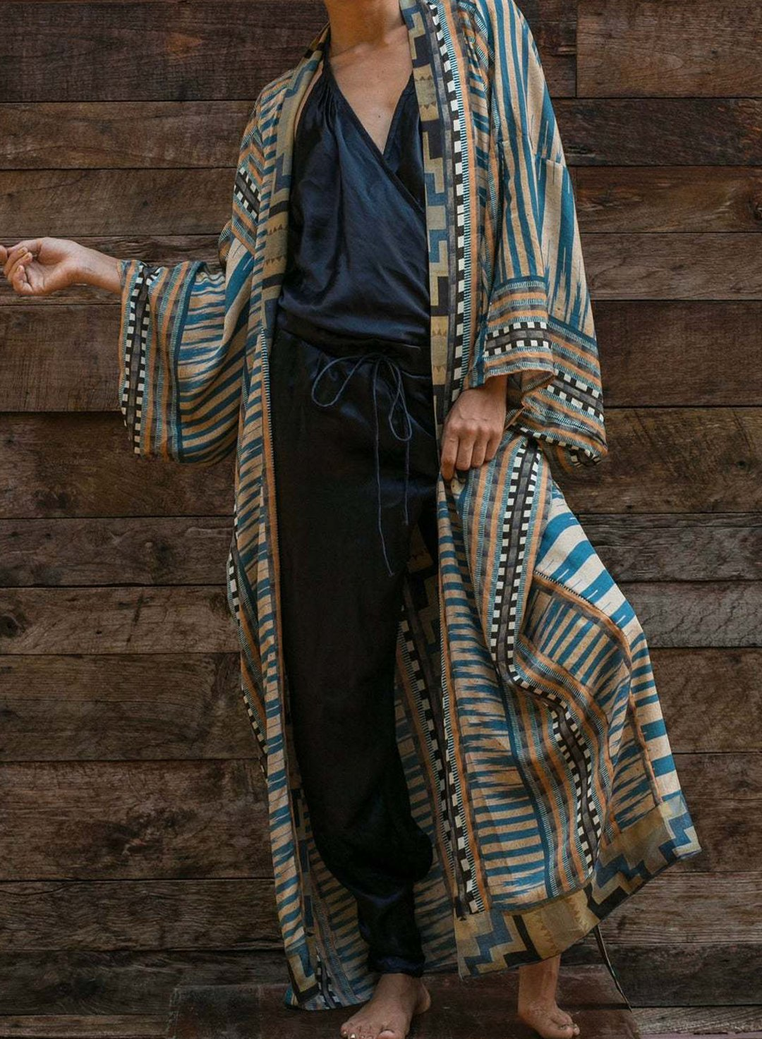 Blue Women's Cover-ups Tribal V Neck Long Sleeve Belt Waist Tie Open Front Boho Casual Daily Beach Cover-ups LC254555-5