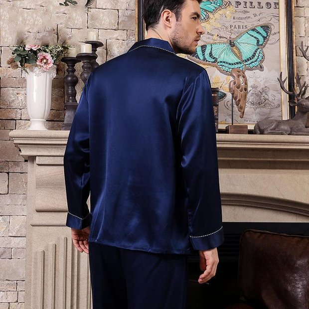 Monogrammed 22 Momme High Quality Basic Silk Pajamas Set for Men、Real Silk Life