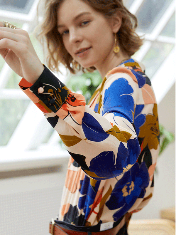 Artful Flora Printed Silk Shirt、Real Silk Life