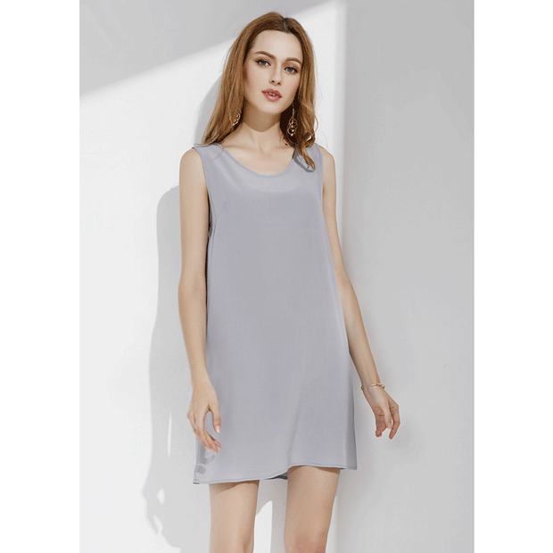 Solid Color Basic Silk Dress、Real Silk Life