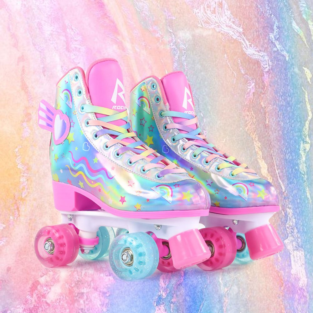 Flying Heart Rainbow Laser Roller Skates-Skatesfun