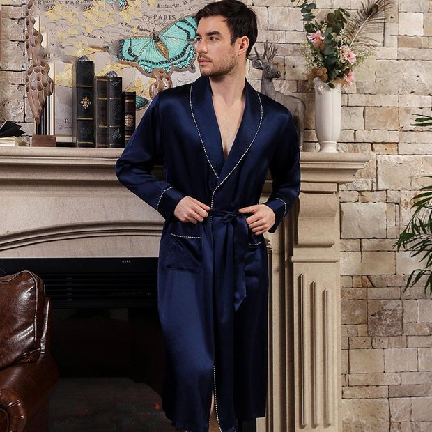22 Momme High Quality Navy Blue Silk Robe for Men、Real Silk Life