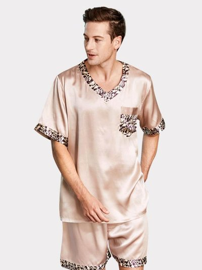 22 Momme High Quality Life Style Short Silk Pajamas Set For Men、Real Silk Life