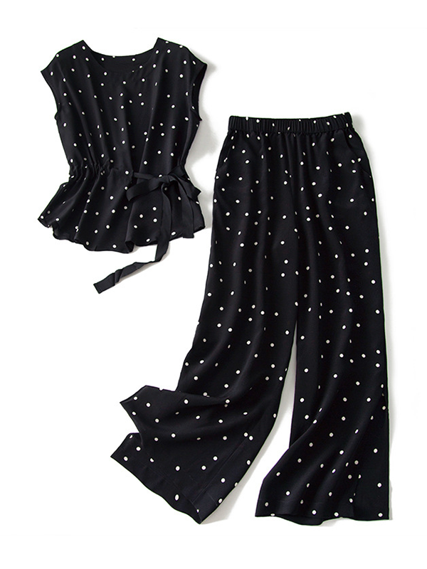 Black White Point Elastic Waist Silk Two Sets Pants And Blouse、Real Silk Life