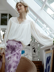 Puff Sleeves Silk Blouse、Real Silk Life