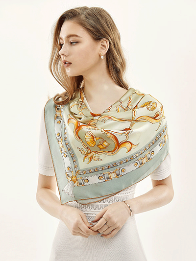 Light Green Printed Silk Scarf 1021180640 90*90、REAL SILK LIFE
