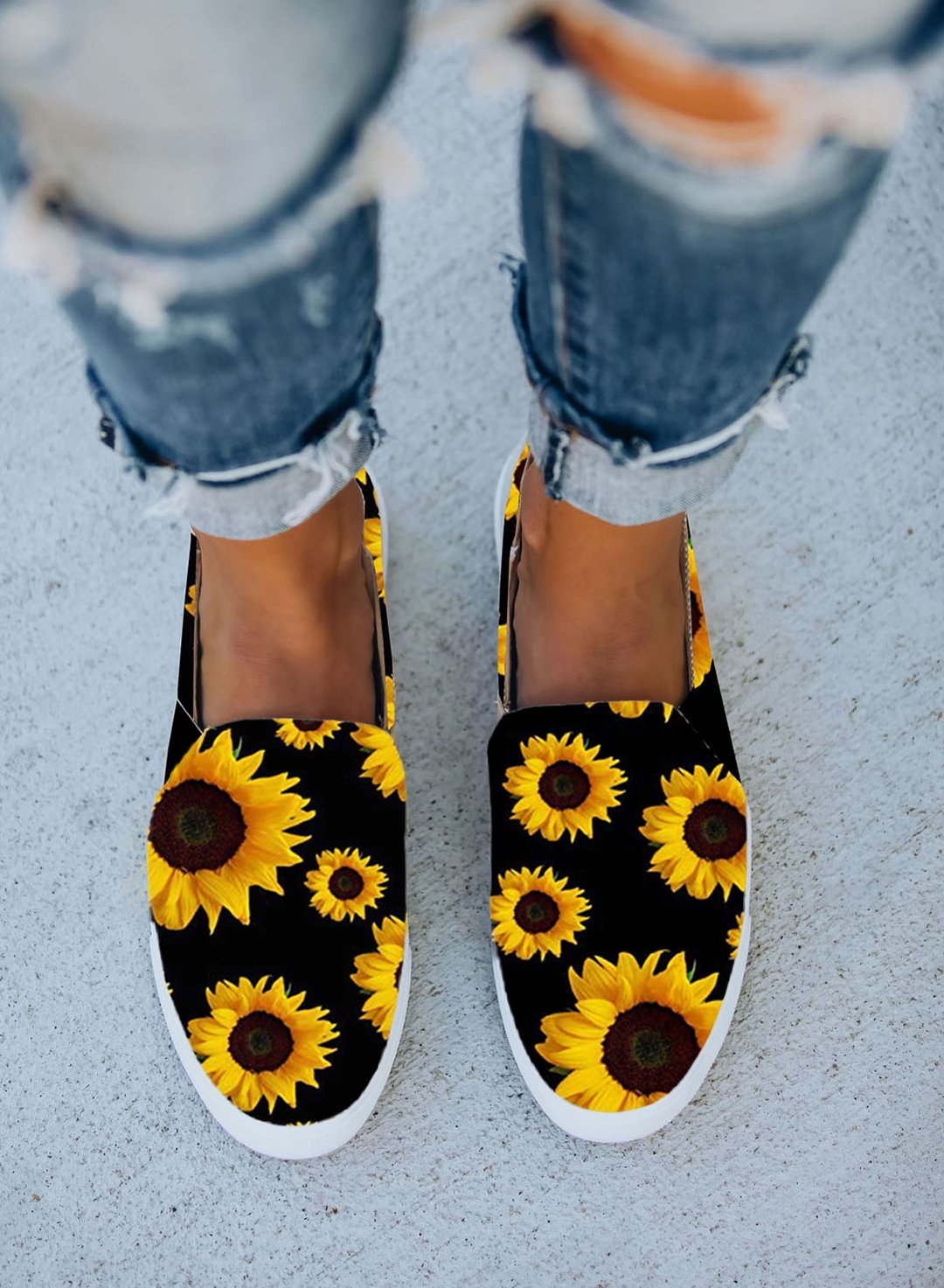 Black Women's Shoes Sunflower Allover Print Canvas Shoes LC121090-2