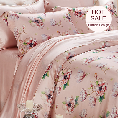 Flowers Printed Silk Duvet Cover Set Bedding Set| 4pcs、RealSilkLife