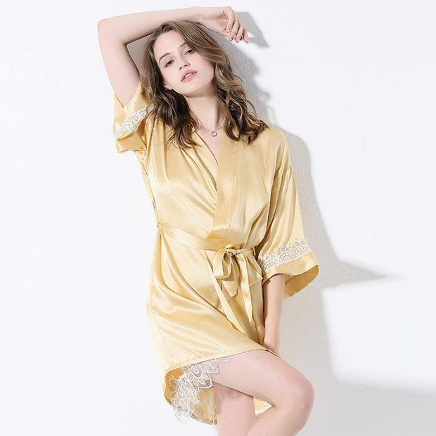 22 Momme High Quality Yellow Silk Robe | Two Pieces Set、Real Silk Life