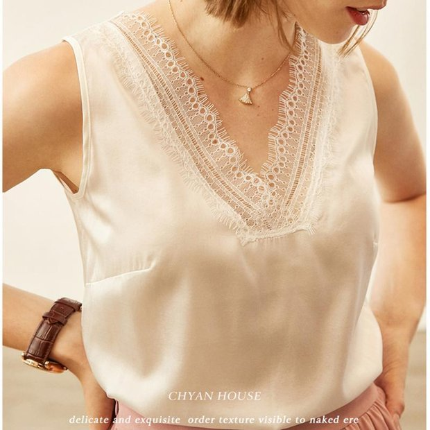 V-neck Lace Decorated Neckline Silk Camisoles 丨 Two Colors Selected、Real Silk Life