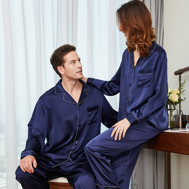 Monogrammed 22 Momme Long Sleeves Classic Silk Pajamas Set For Couple、Real Silk Life