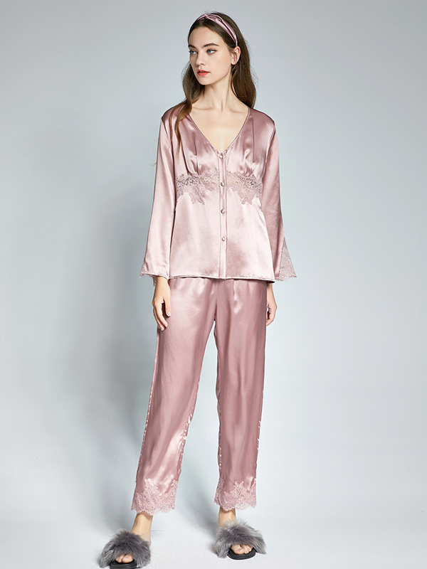 Luxurious V Ncek Silk Pajamas Set With Lace For Women、Real Silk Life