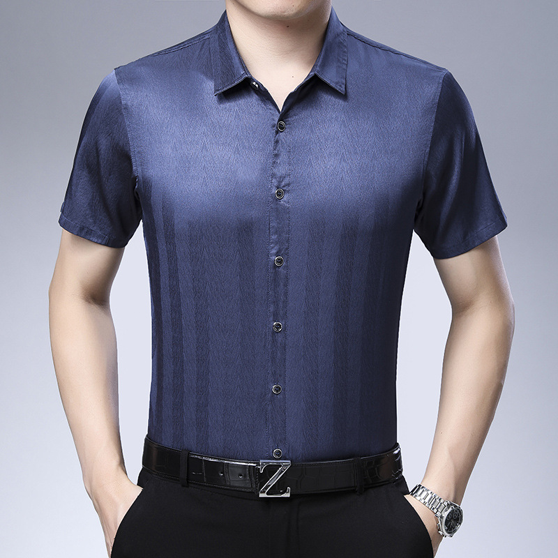 Casual Mens Striped Short Sleeves Silk Shirt、Real Silk Life