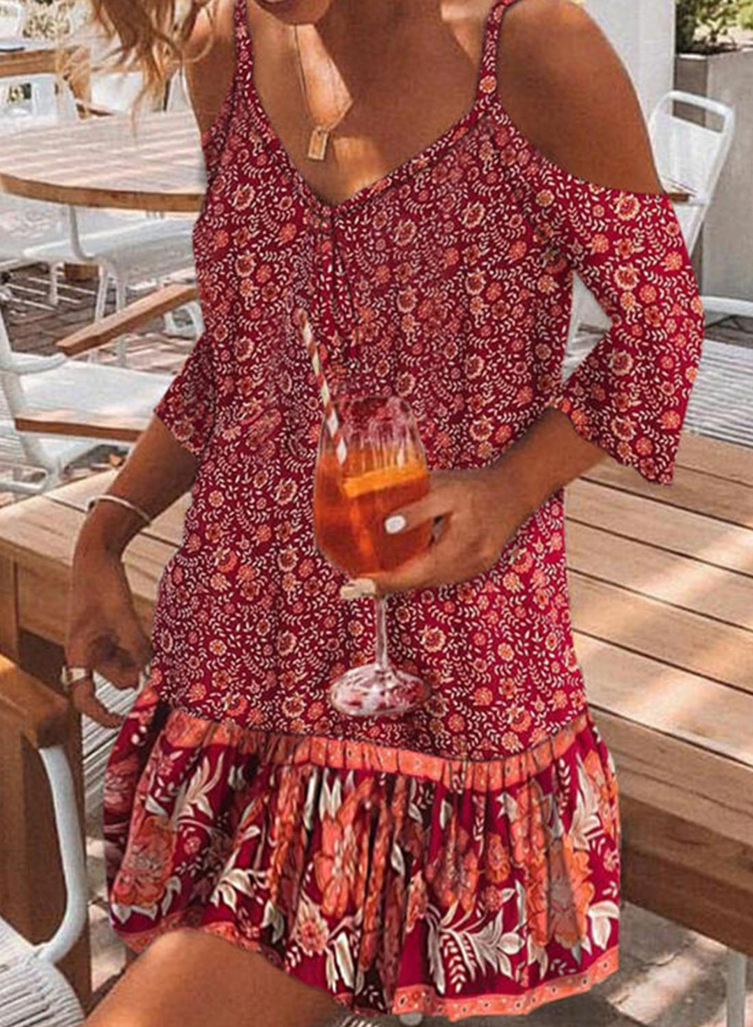 Red Women's Mini Dresses Floral Spaghetti Cold Shoulder Shift 3/4 Sleeve Dress LC225818-3