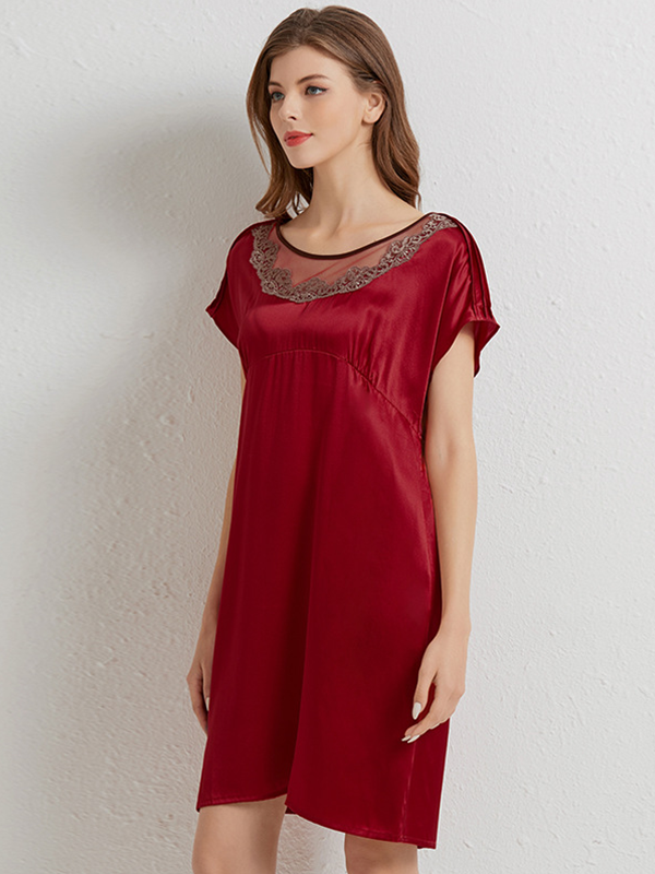 19 Momme Lace Rond Neck Silk Nightgown、Real Silk Life