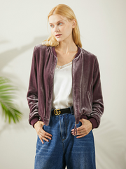 Casual Silk Velvet Short Jacket For Women、Real Silk Life