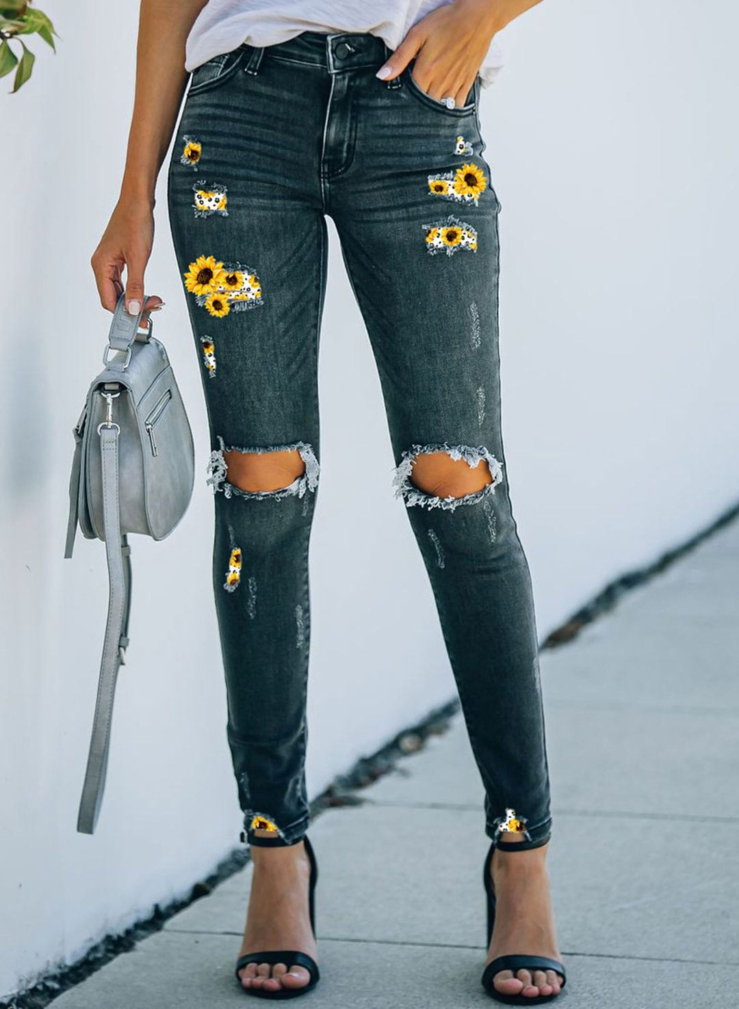 Blue Women's Jeans Slim Mid Waist Sunflower Ripped Jeans LC782221-5