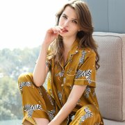 19 Momme Women's Gold Yellow Printed  Long Silk Pajamas Set、Real Silk Life