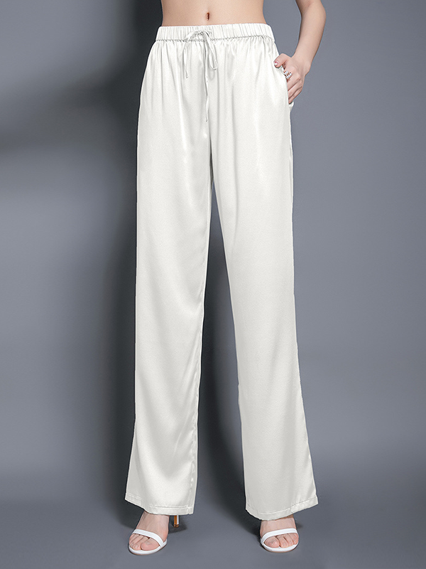 Graceful Elastic Waist With Waistband Silk Pants Side Pockets、Real Silk Life